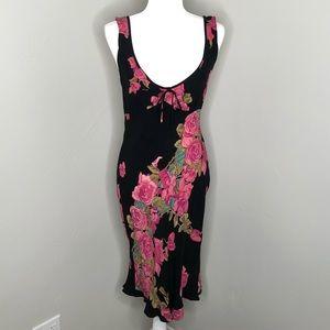 Vintage Betsey Johnson Pink & Black Floral Dress
